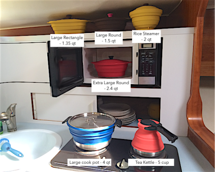 6 items spread on galley